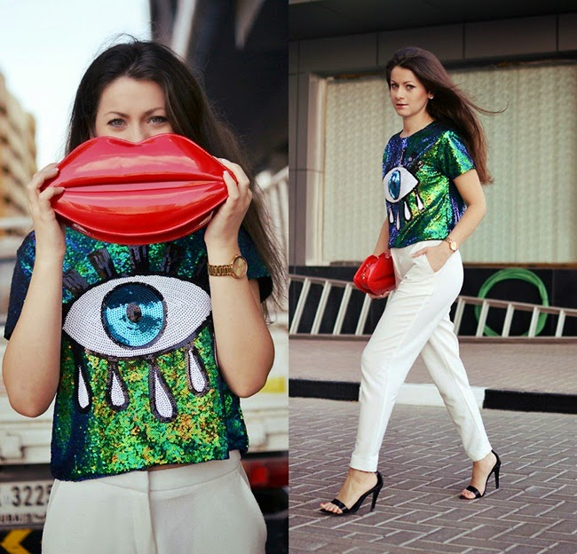 Sheinside 2014 AW Green Short Sleeve Sequined Eye Print Blouse