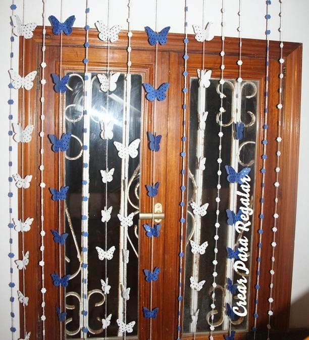 Crear para regalar diy cortina con mariposas y flores de - Cortinas de goma ...