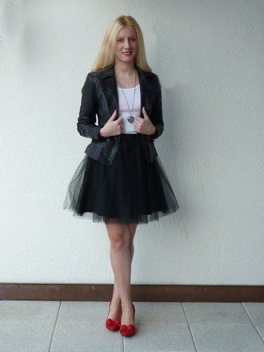 Black tulle casual skirt