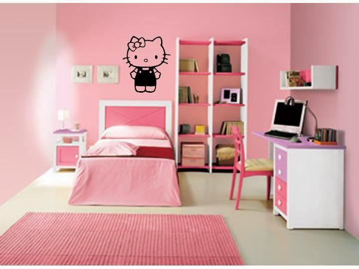 Contoh Desain Kamar Tidur Anak Perempuan Minimalis Tema Hello Kitty