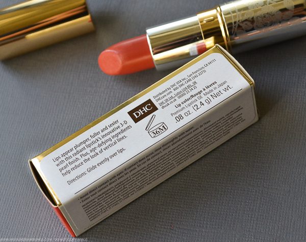 DHC Premium Lipstick OR112 Orange Photos Swatches Review FOTD Indian Makeup Beauty Blog