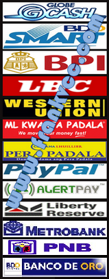 Smartmoney, BPI, PNB, MetroBank, BDO, LBC, Western Union, ML Kwarta Padala, Cebuana Pera Padala, Paypal, Alertpay, Liberty Reserve are Accepted Mode of Payments Available in this Website