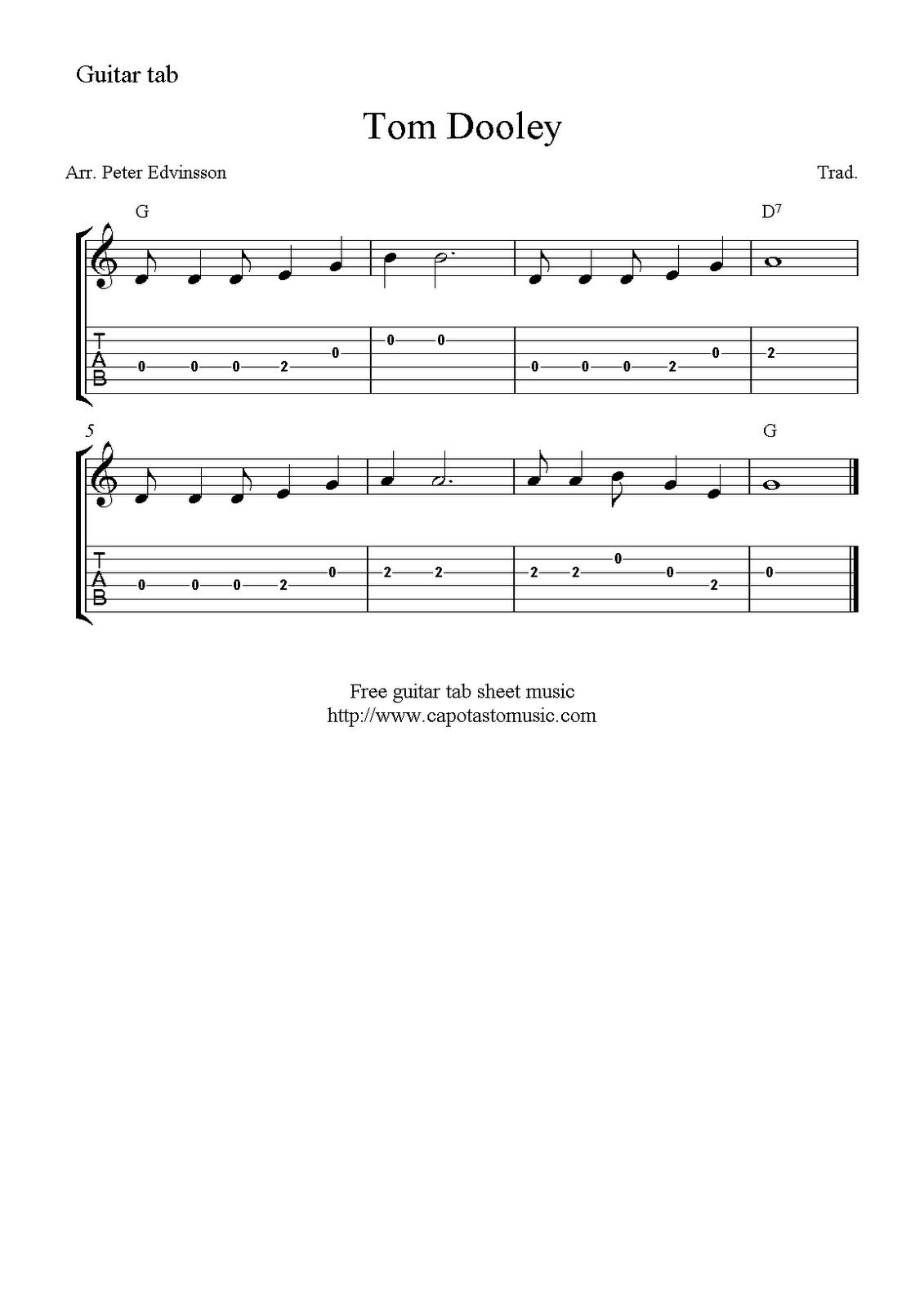 Tom Dooley, easy free guitar tablature sheet music for beginners