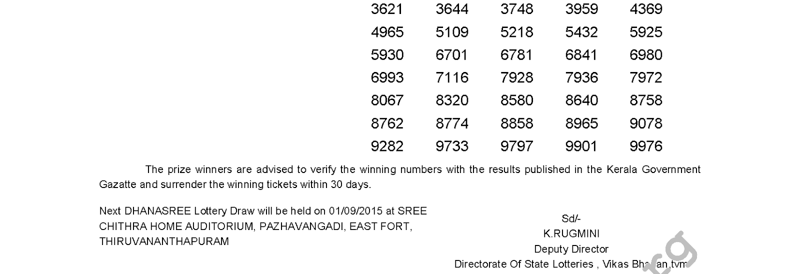 DHANASREE Lottery DS 200 Result 25-8-2015