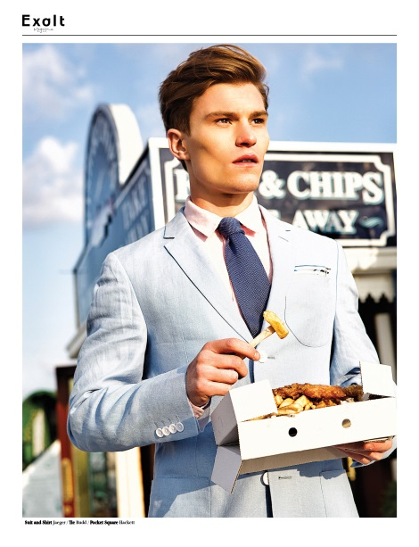 Oliver Cheshire eating fish and chips