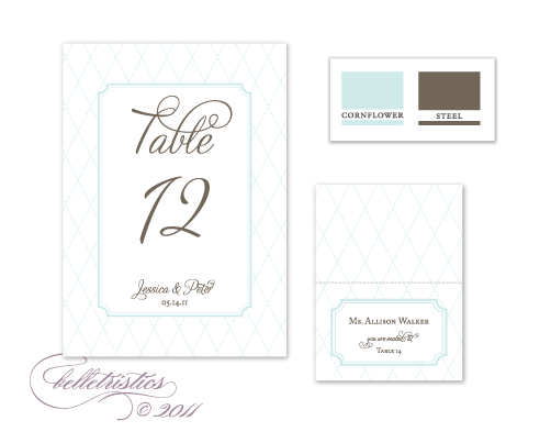 cornflower blue gray brown printable diy table numbers escort cards
