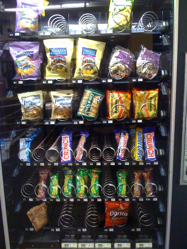 Unhealthy food in vending machines