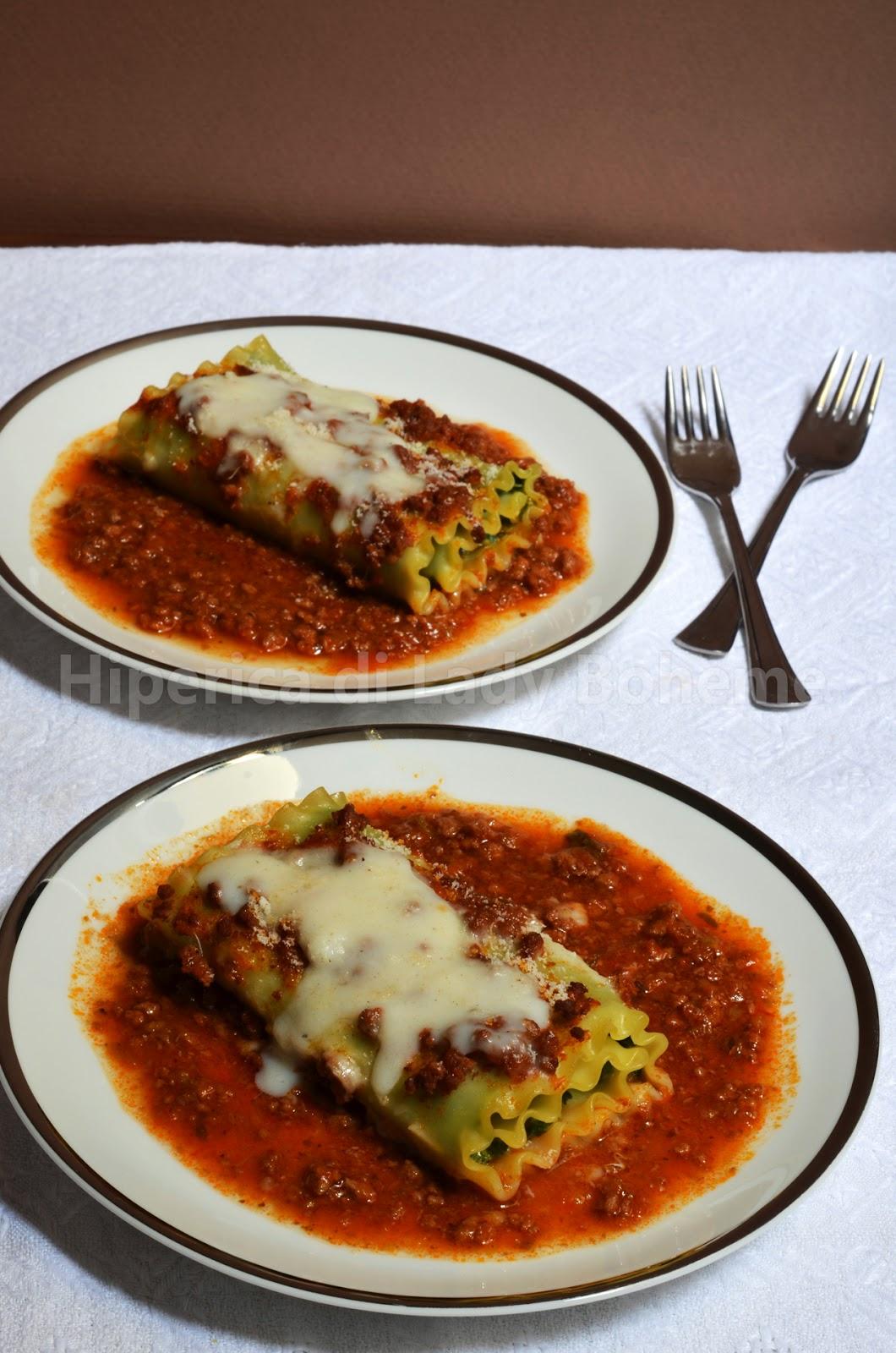 ricetta lasagna riccia arrotolata con ricotta e spinaci al ragù di carne