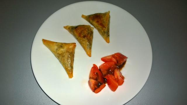 Samoussas de boeuf, épinards et carottes