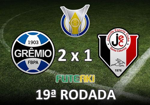Veja o resumo da partida com os gols e os melhores momentos de Grêmio 2x1 Joinville pela 19ª rodada do Brasileirão 2015