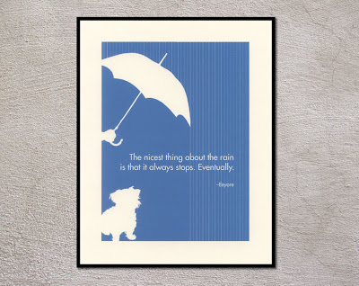 framed poster of dog and umbrella