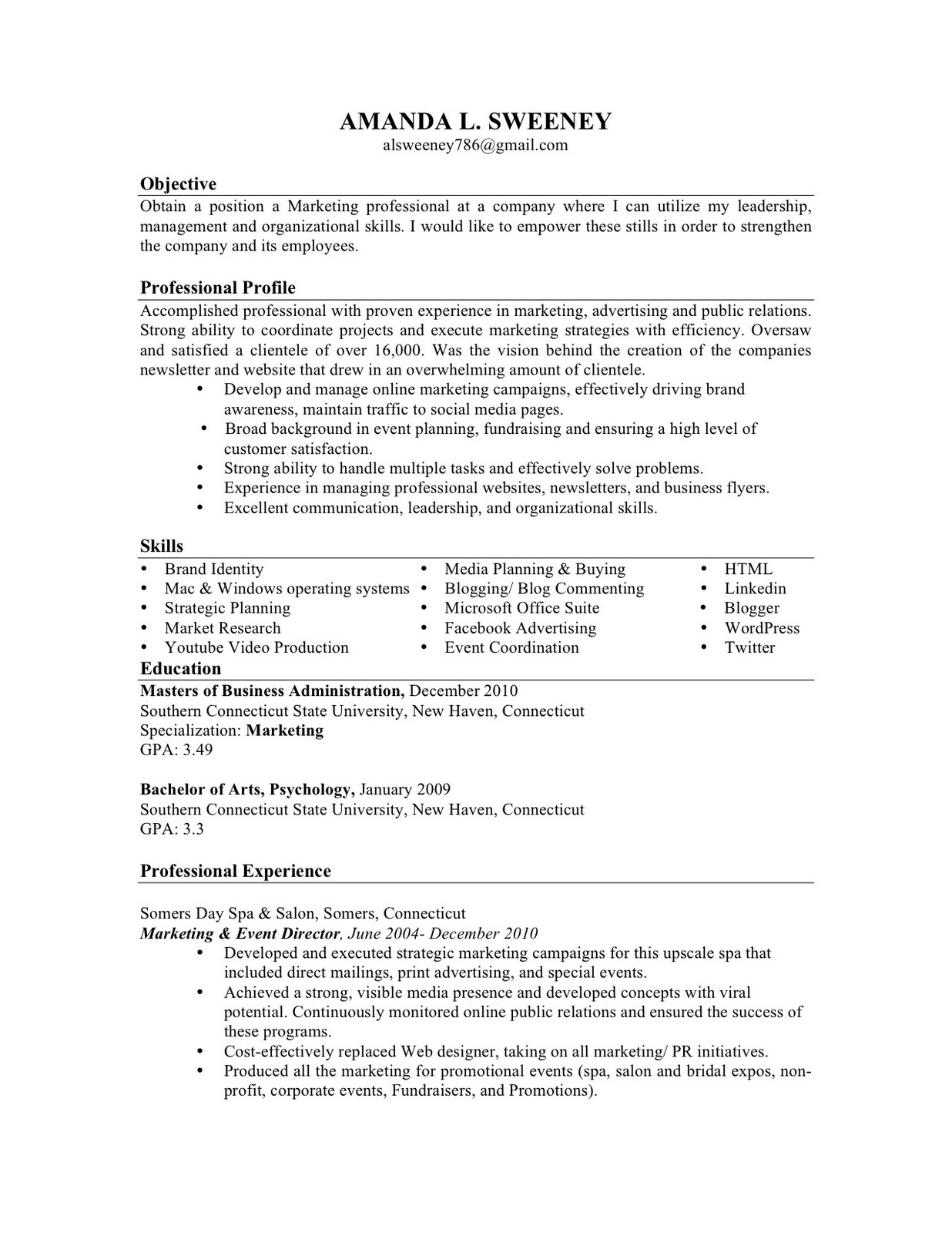 associate of arts in psychology resume