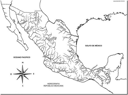 Mapa de Ríos de México para colorear ~ 4 Dibujo