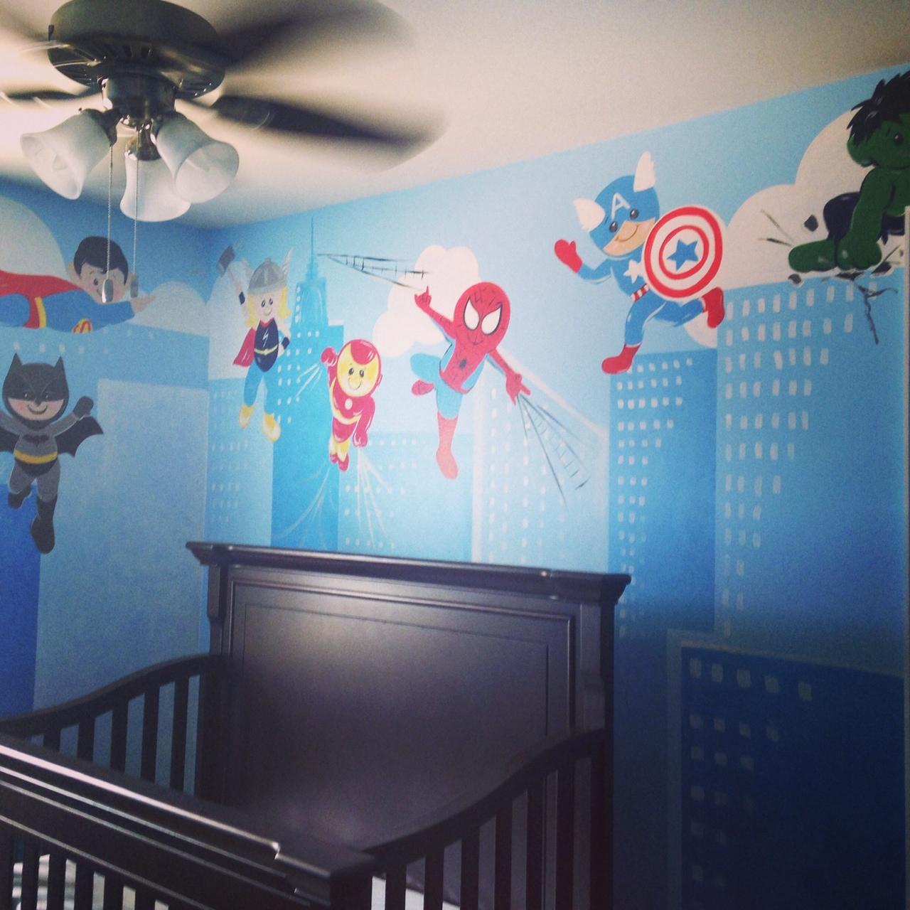 super hero mural