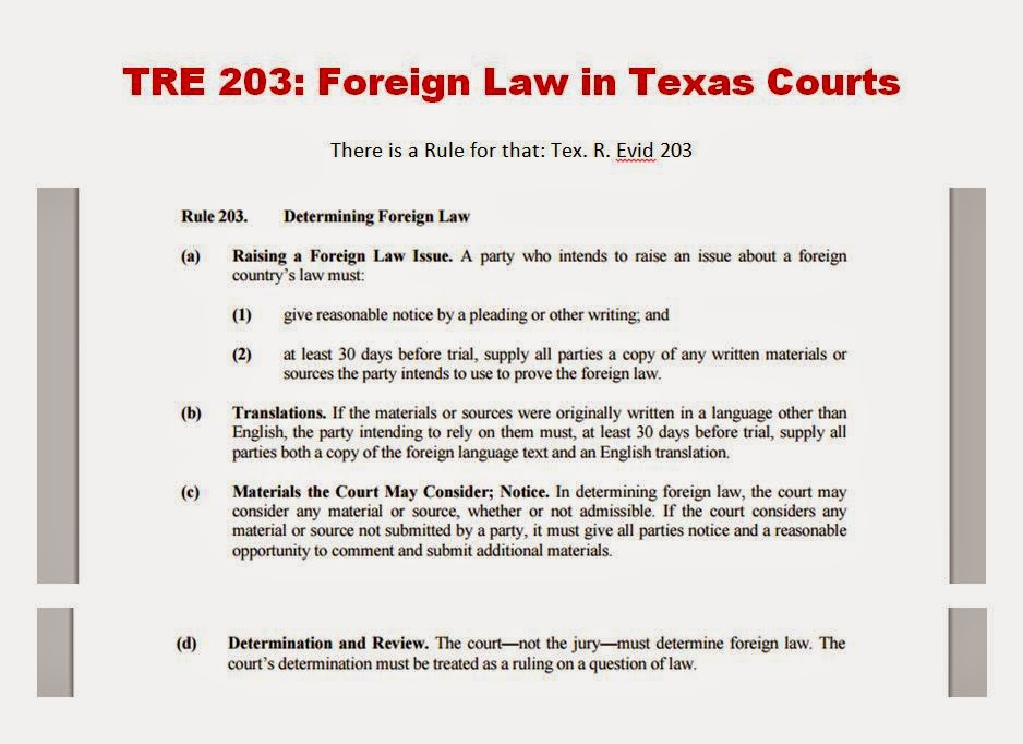 Tex. R. Evic. 203: Determination of Foreign Law