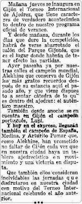 Nota de prensa sobre el II Torneo Internacional de Ajedrez Gijón 1945, 11 de julio de 1945