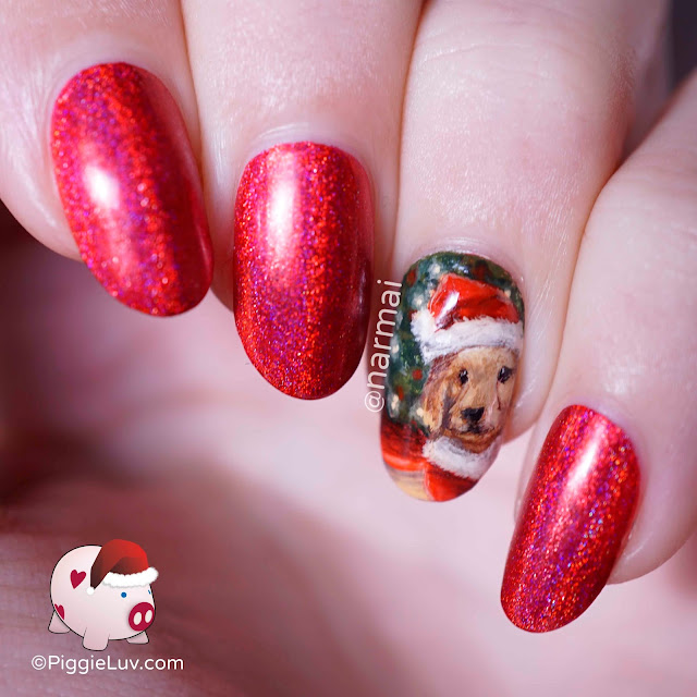 PiggieLuv: Santa dog nail art for Christmas
