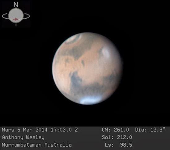 Awan Badai Muncul di Planet Mars