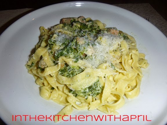 Fresh Made Pasta with Chicken Spinach Alfredo Sauce