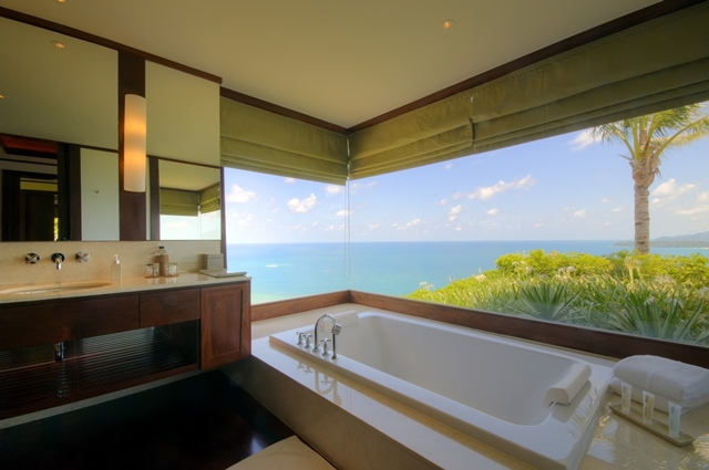 View of the ocean from another bathroom
