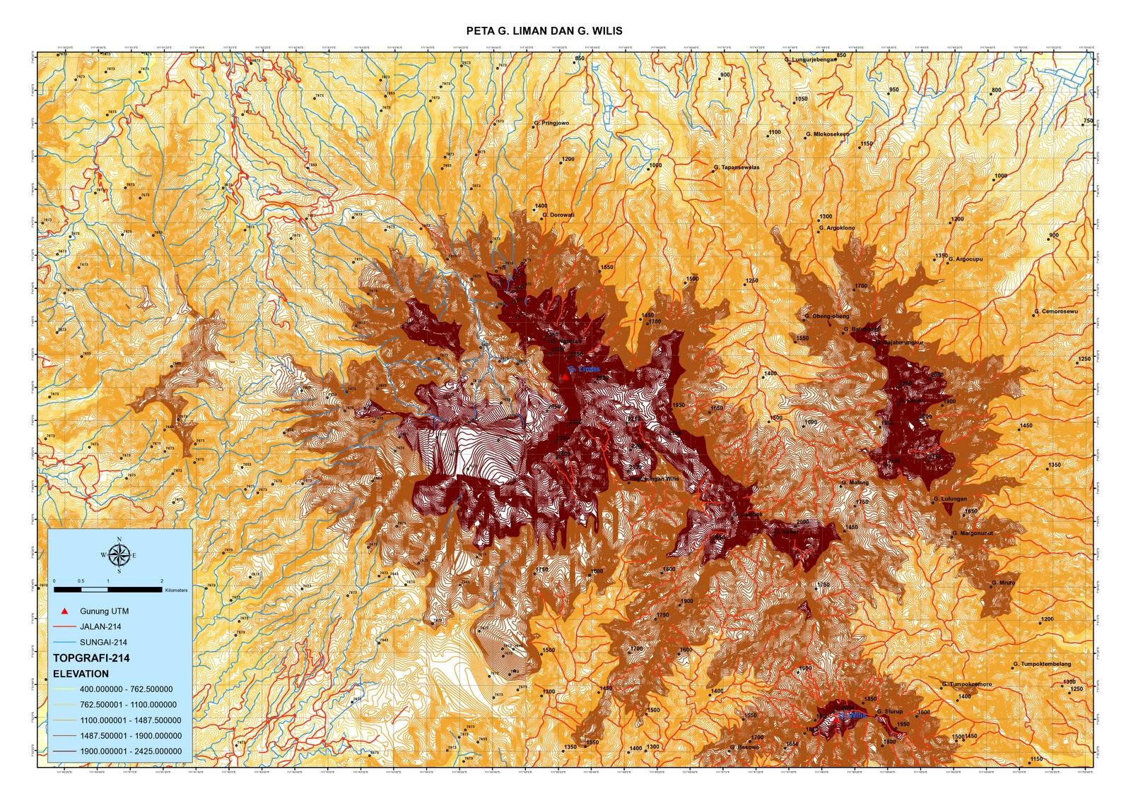 Peta Topografi Gunung Wilis ~ Trutusan Turut Alas