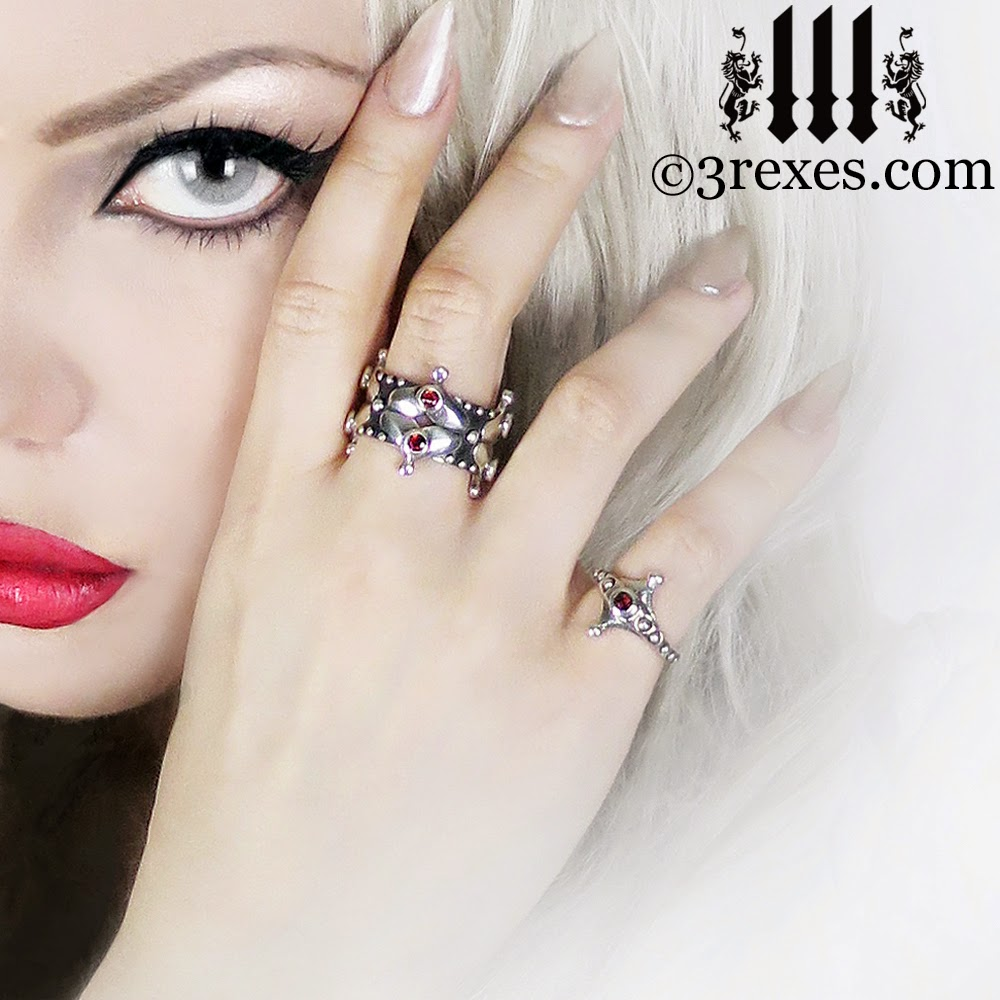 silver lovers fairy crown ring & the imp ring with garnet stones gothic wedding rings