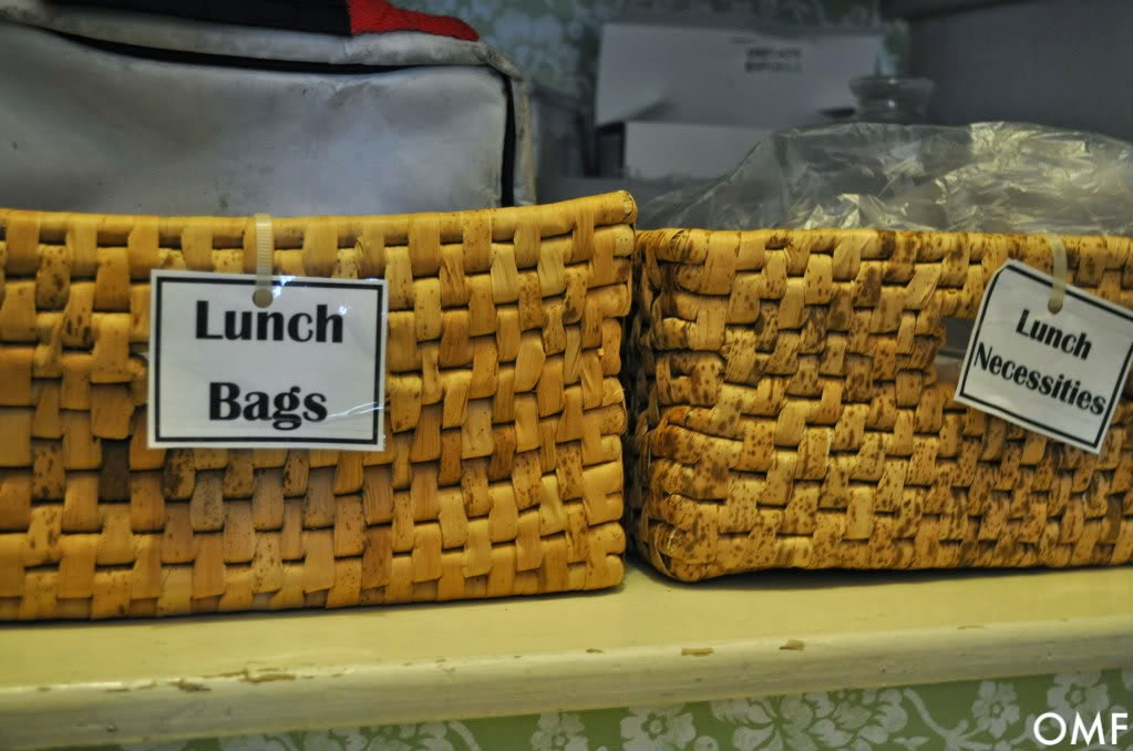 Use baskets for organizing lunch goodies in the pantry :: OrganizingMadeFun.com