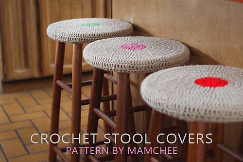 free crochet pattern easy stool cover