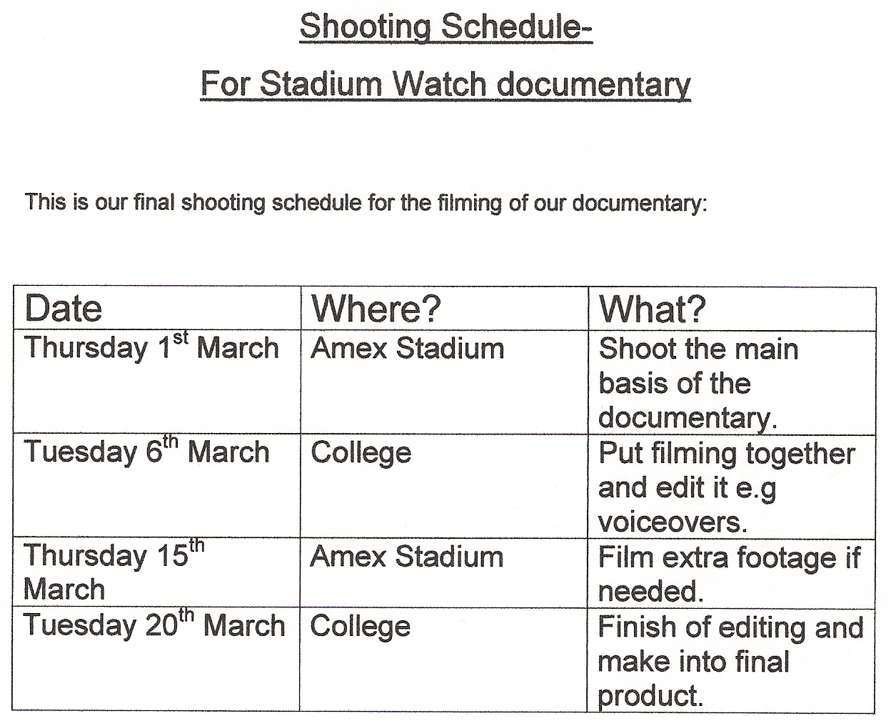 shooting schedule