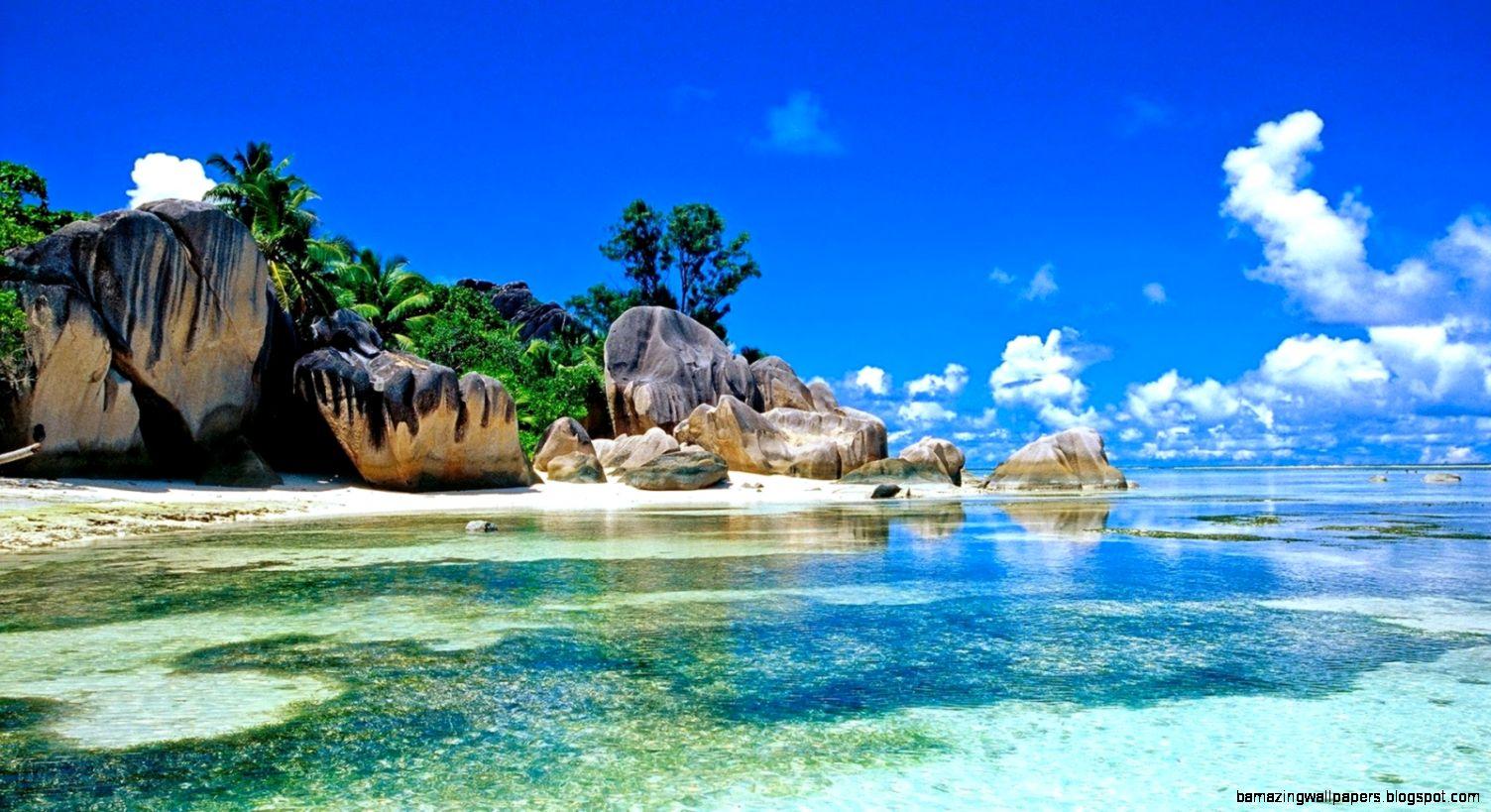 Tropical blue sea clear sky white sand beach view theme HD 1080p