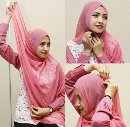 Cara memakai jilbab formal menggunakan jilbab segiempat 1