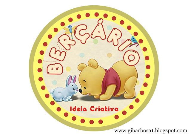Placa para porta de Berçário Ursinho Pooh Baby