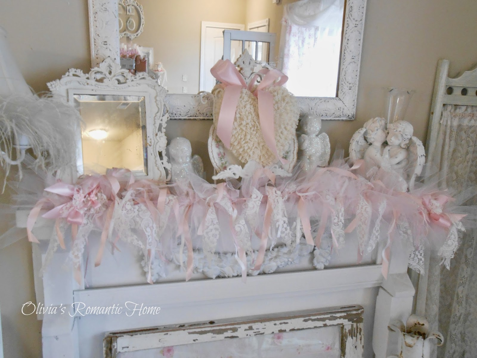 this is a shabby garland that i in with tulle lace and ribbons