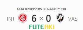 O placar de Internacional 6x0 Vasco pela 22ª rodada do Brasileirão 2015