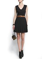 mango siyah kemerli elbise modeli