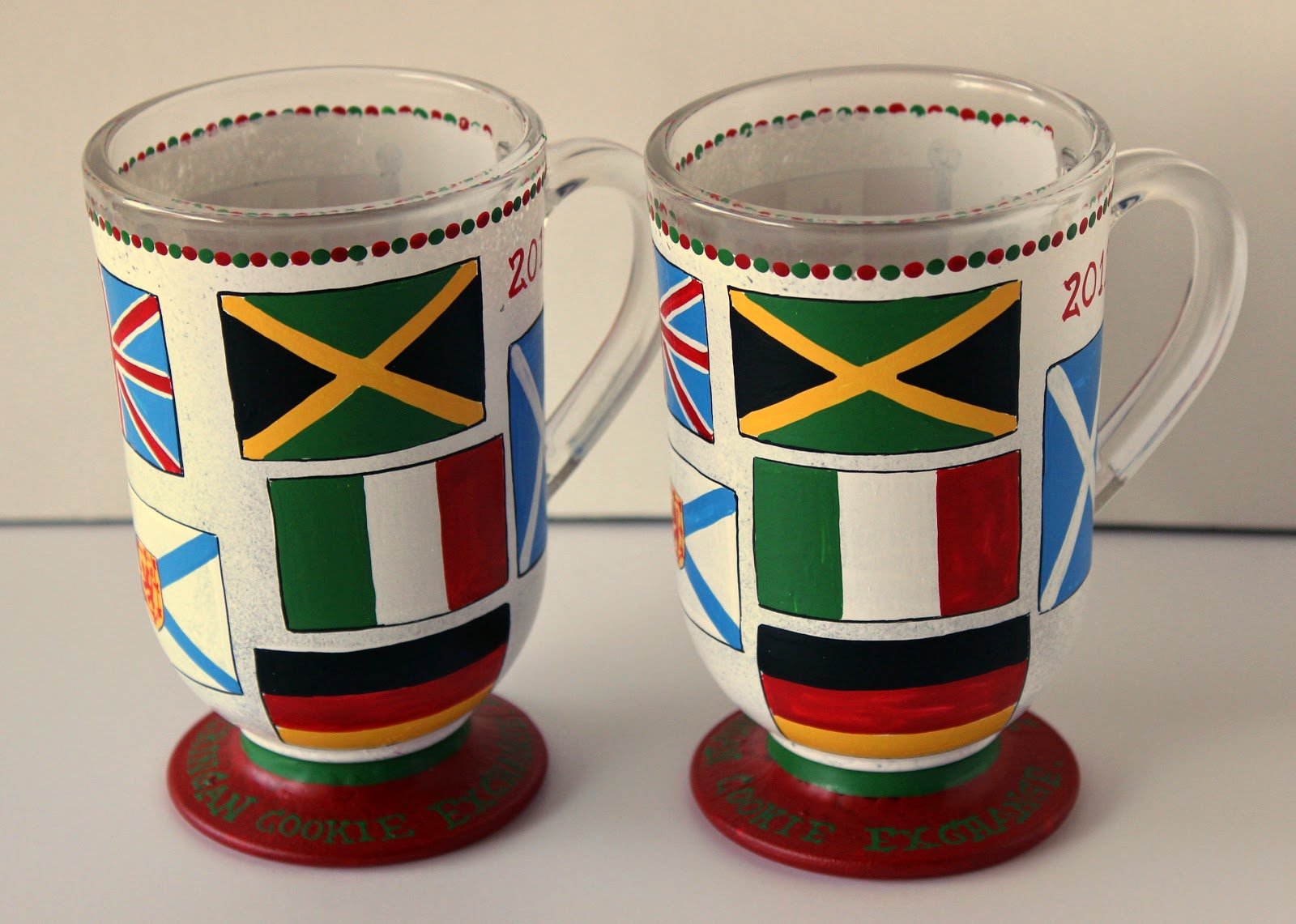 Flags of the World hand painted coffee mug. - www.kudoskitchenbyrenee.wazala.com
