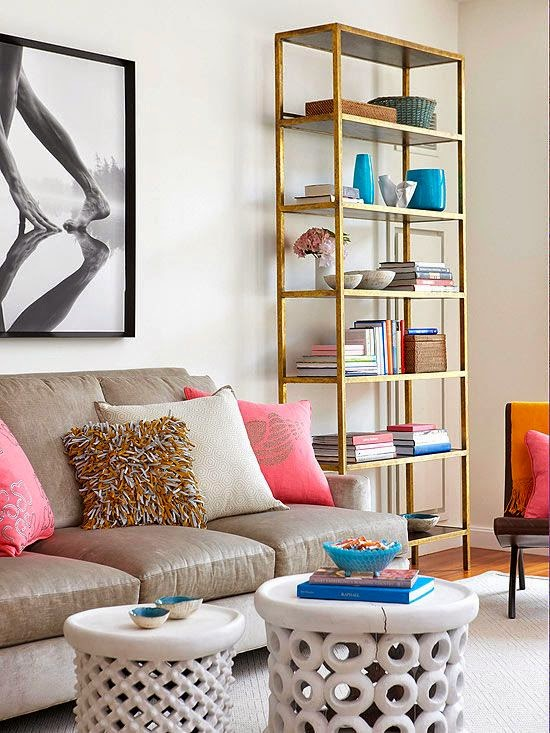 neutral living room gold etagere bookcase