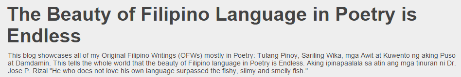 The Beauty of Filipino Language in Poetry is Endless