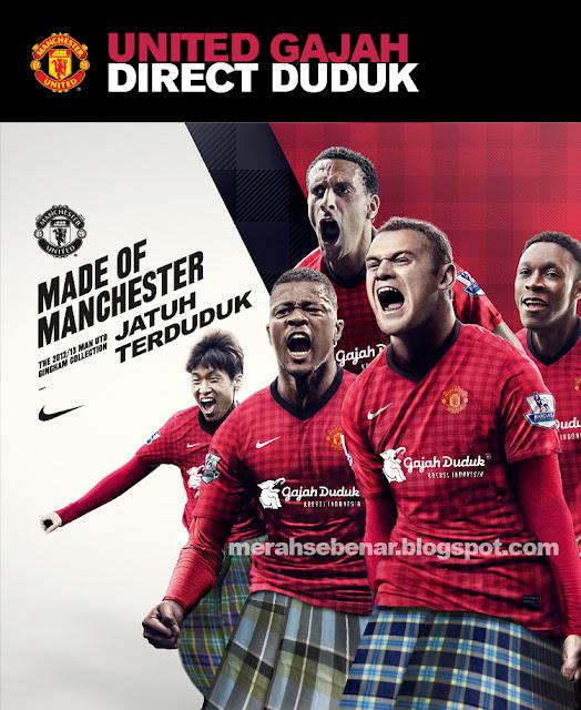 manchester united bola sepak gajah duduk