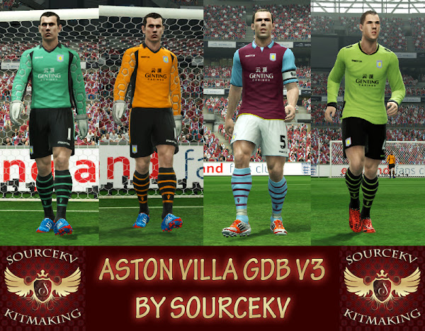 PES 2013 Aston Villa FC 2012/13 Kits v3 by Sourcekv