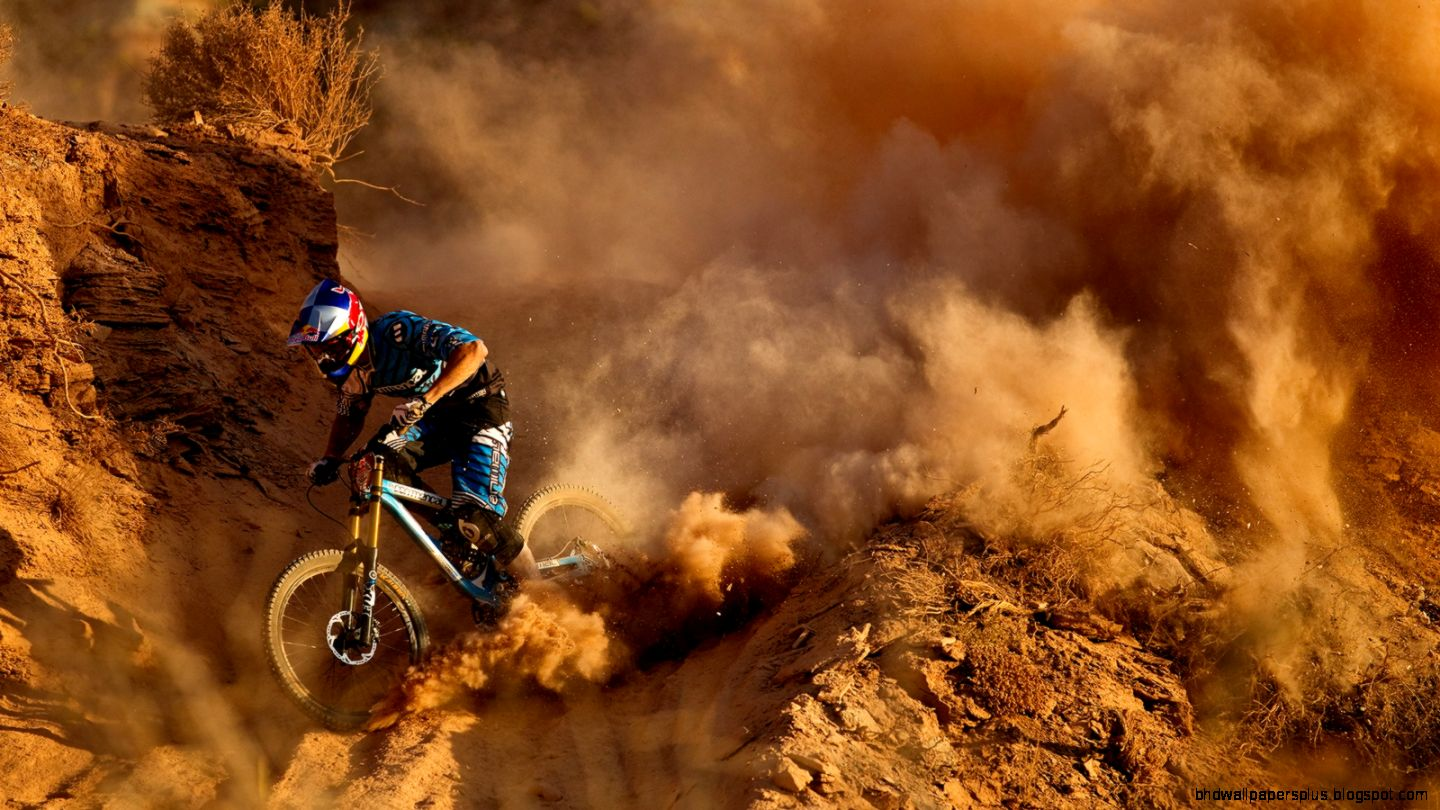 Download 1600x900 Mountain Bike Bicycle Dust Dirt red bull racing