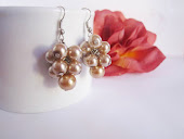 Bronze Cluster Pearl Earrings, Bridesmaid earrings