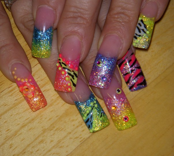 Nails Done Right: OPI Black Shatter , Birthday Nails & Neon Fun !!!