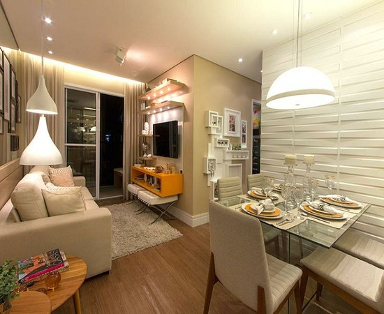 Ilha Gesso Sala De Jantar ~  Corpo E Seu Espaço Apartamentos Com Salas Integradas Puro Charme