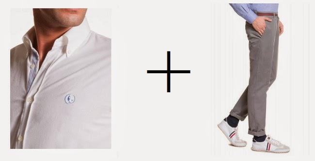 camisa oxford blanca y pantalon gris de El ganso