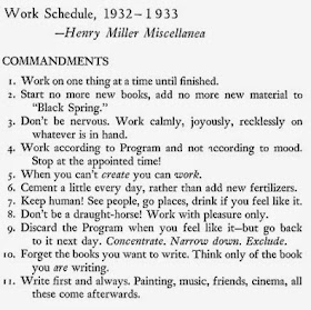 Henry Miller Eleven Writing Commandments