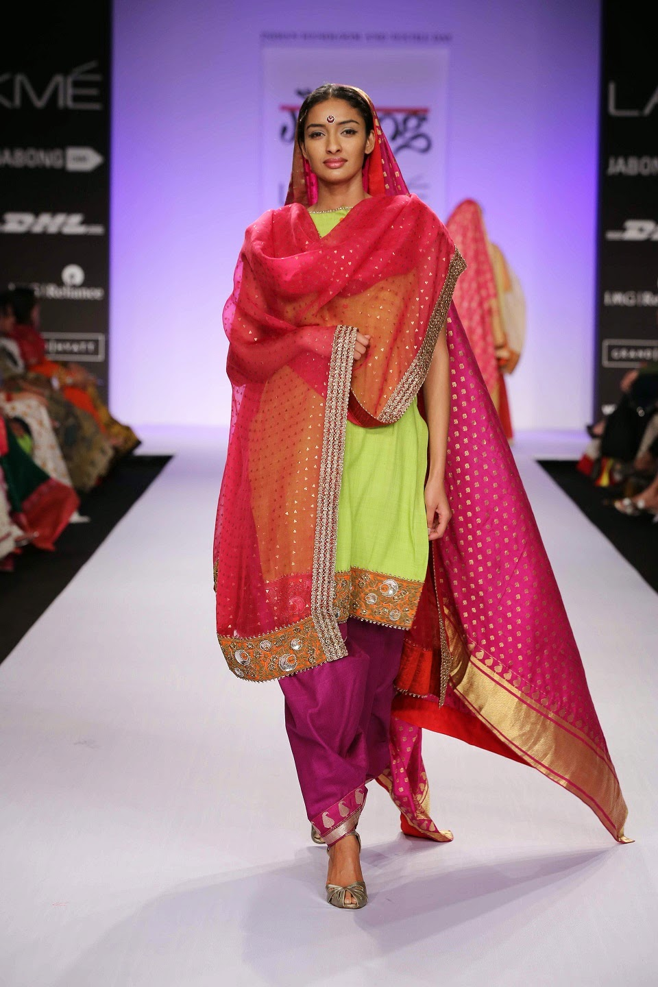 "Dedicated to the modern bride, Gaurang Shah's ""Chandbali"" collection was a splendid line of regal ethnic wear at Lakmé Fashion Week Summer/Resort 2014."