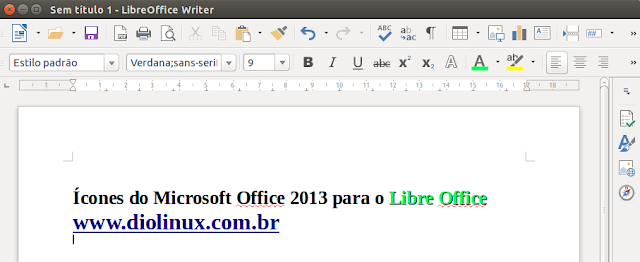 ícones do MS Office 2013 no Libre Office