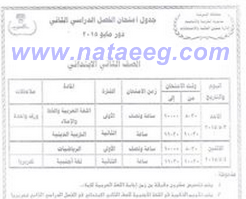 محافظة الشرقيه : جدول متحانات الشهادة الابتدائيه 2015 الترم الثانى أخر العام