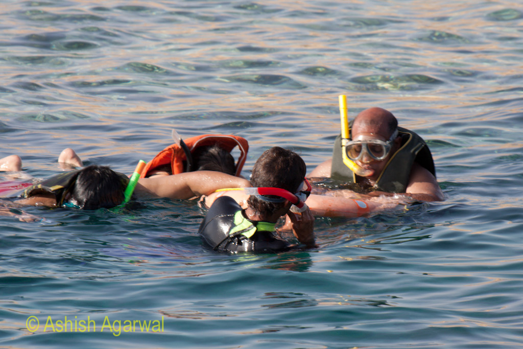 4 people clutching onto the rubber tube when doing snorkeling in the Red Sea